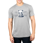 Anxious Thoughts Men's t-shirt model TeeTurtle charcoal t-shirt featuring an anxious-looking panda sitting down with the thoughts,