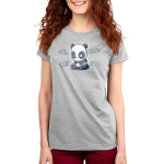 Anxious Thoughts Women's t-shirt model TeeTurtle charcoal t-shirt featuring an anxious-looking panda sitting down with the thoughts,