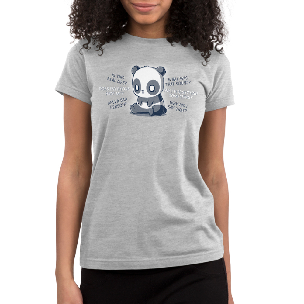 Anxious Thoughts Junior's t-shirt model TeeTurtle charcoal t-shirt featuring an anxious-looking panda sitting down with the thoughts,