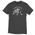 Geology Rocks t-shirt TeeTurtle charcoal t-shirt featuring a large winking gray rock surrounded by two smaller smiling rocks with three speech bubbles saying,