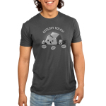 Geology Rocks Men's t-shirt model TeeTurtle silver t-shirt featuring a large winking gray rock surrounded by two smaller smiling rocks with three speech bubbles saying,