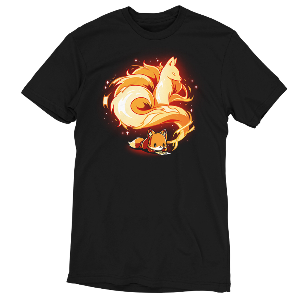 The Mind of an Artist t-shirt TeeTurtle black t-shirt featuring an orange fox lying down and drawing on a piece of paper with a gorgeous nine-tailed fox coming out of the side of the small fox's head.