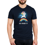 So Over It. Men's t-shirt model TeeTurtle navy t-shirt featuring a sparkling white unicorn with a sarcastic look on his face, and a rainbow mane and tail leaping over a rainbow whose ends are in clouds.