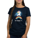 So Over It. Women's t-shirt model TeeTurtle navy t-shirt featuring a sparkling white unicorn with a sarcastic look on his face, and a rainbow mane and tail leaping over a rainbow whose ends are in clouds.