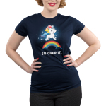 So Over It. Junior's t-shirt model TeeTurtle navy t-shirt featuring a sparkling white unicorn with a sarcastic look on his face, and a rainbow mane and tail leaping over a rainbow whose ends are in clouds.