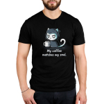 My Coffee Matches My Soul Men's t-shirt model TeeTurtle black t-shirt featuring a tired and angry looking cat in a grim reaper cloak holding a big cup of coffee