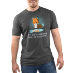 Talking to Myself Men's t-shirt model TeeTurtle charcoal t-shirt featuring a cute fox looking down at its reflection in a puddle