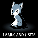 I Bark and Bite t-shirt TeeTurtle black t-shirt featuring an angry-looking gray and white wolf sitting up facing slightly to the lefthand side with its tail curled around itself.