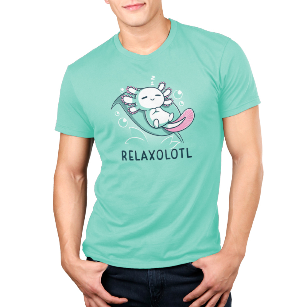 Relaxolotl Men's t-shirt model TeeTurtle silver t-shirt featuring a happy white and pink axolotl sleeping on a green leaf surrounded by bubbles and zzzs.