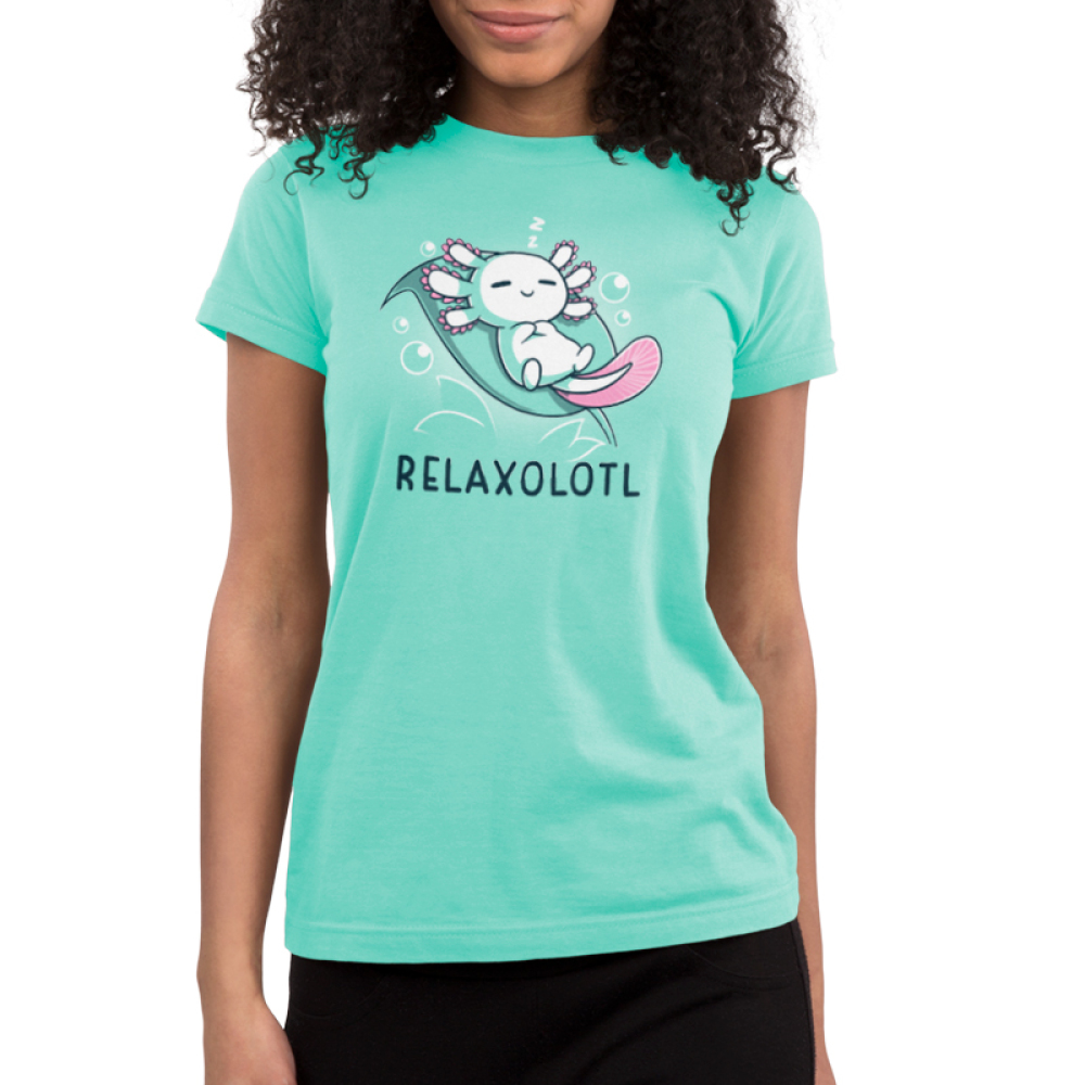 Relaxolotl Junior's t-shirt model TeeTurtle silver t-shirt featuring a happy white and pink axolotl sleeping on a green leaf surrounded by bubbles and zzzs.
