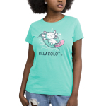 Relaxolotl Women's t-shirt model TeeTurtle silver t-shirt featuring a happy white and pink axolotl sleeping on a green leaf surrounded by bubbles and zzzs.