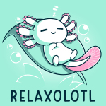 Relaxolotl t-shirt TeeTurtle chill blue t-shirt featuring a happy white and pink axolotl sleeping on a green leaf surrounded by bubbles and zzzs.