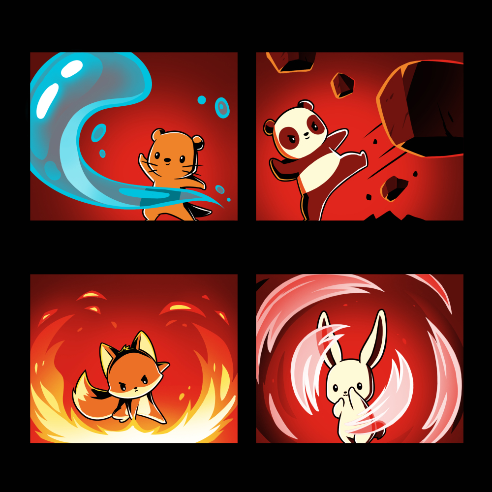 Bending the Elements t-shirt TeeTurtle black t-shirt featuring a square grid with a brown otter bending water on the top lefthand corner, a panda bending earth on the top righthand corner, a fox bending fire on the bottom righthand corner, and a bunny bending air on the bottom lefthand corner.