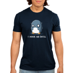 I Have No Chill Men's t-shirt model TeeTurtle navy t-shirt featuring a wide-eyed penguin looking frazzled