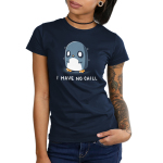 I Have No Chill Women's t-shirt model TeeTurtle navy t-shirt featuring a wide-eyed penguin looking frazzled