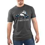 It Hurts So Good Men's t-shirt model TeeTurtle charcoal t-shirt featuring a sweaty panda laying on the ground in a blue sweat band with two hand weights on either side of him