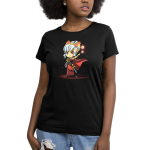 Tabletop Queen Women's t-shirt model TeeTurtle black t-shirt featuring a sassy female elf with white hair tied back, a headband with golden laurels, red cape and dress, and a short sword on her left side with a black scabbard that's holding a book in her right hand, and holding up her left hand that's surrounded by four levitating dice of different sizes.