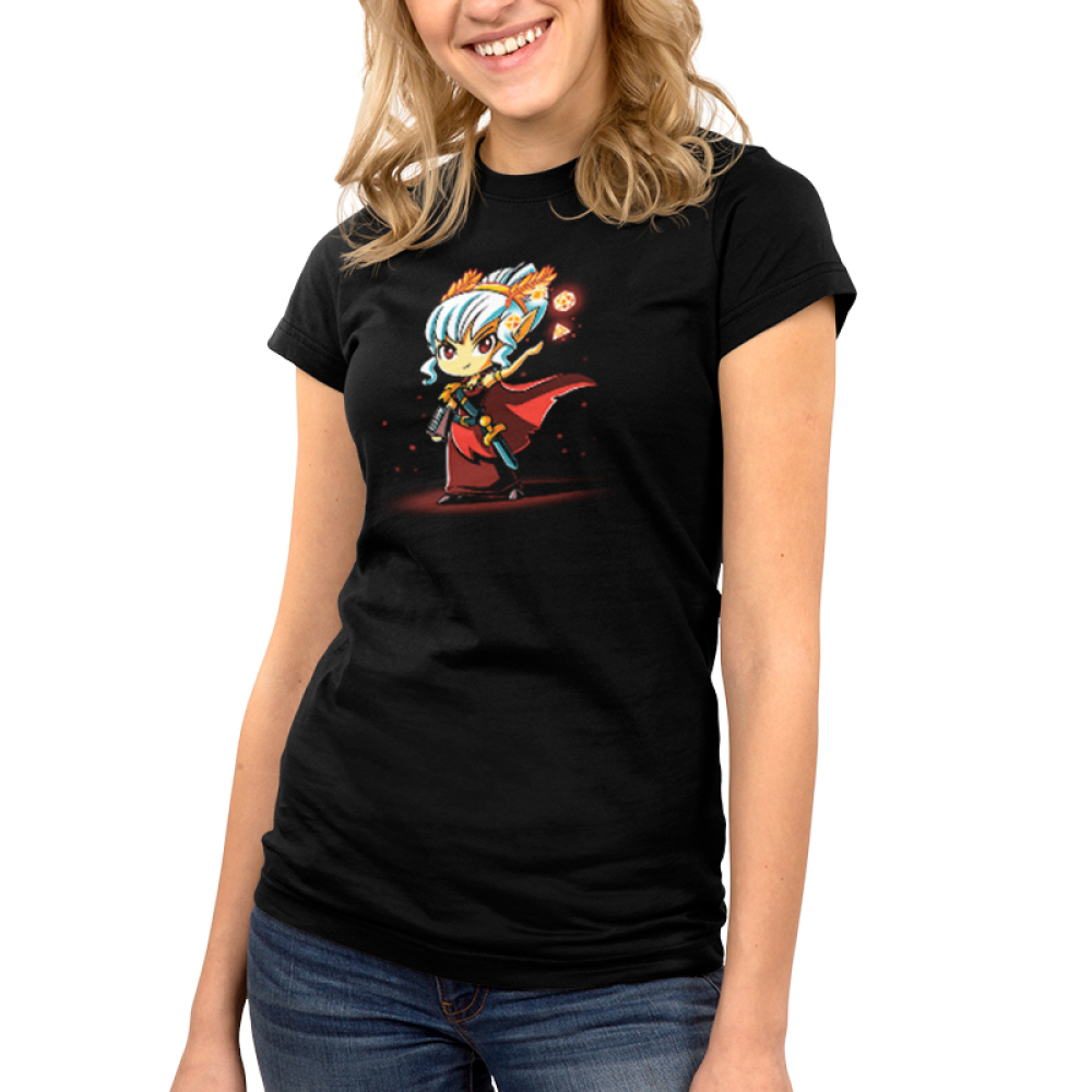 Tabletop Queen Junior's t-shirt model TeeTurtle black t-shirt featuring a sassy female elf with white hair tied back, a headband with golden laurels, red cape and dress, and a short sword on her left side with a black scabbard that's holding a book in her right hand, and holding up her left hand that's surrounded by four levitating dice of different sizes.