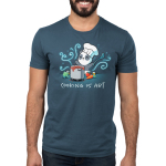 Cooking is Art Men's t-shirt model TeeTurtle denim blue t-shirt featuring a panda in a chefs hat holding a big spoon with a pot of bubbly liquid in from of him and a carrot, tomato, and broccoli next to the pot with swirls all around him