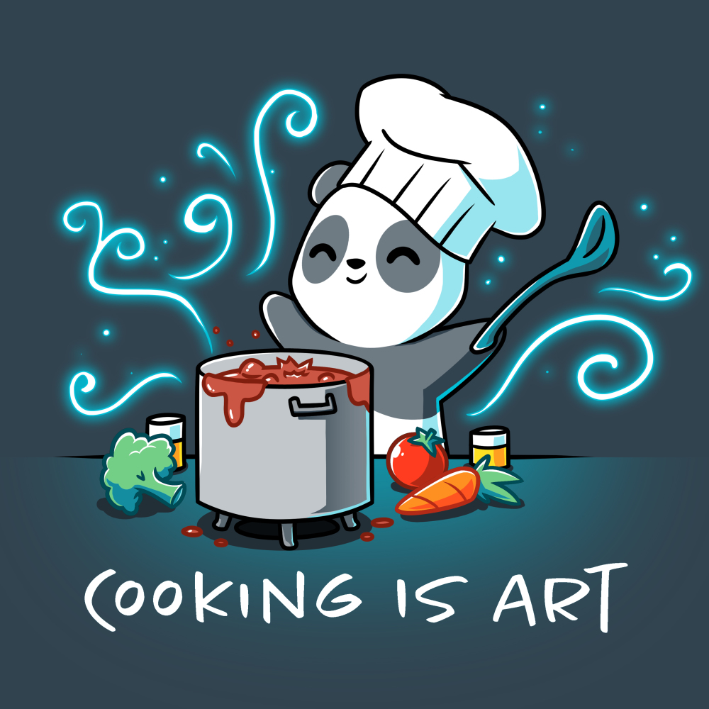 Cooking is Art t-shirt TeeTurtle denim blue t-shirt featuring a panda in a chefs hat holding a big spoon with a pot of bubbly liquid in from of him and a carrot, tomato, and broccoli next to the pot with swirls all around him