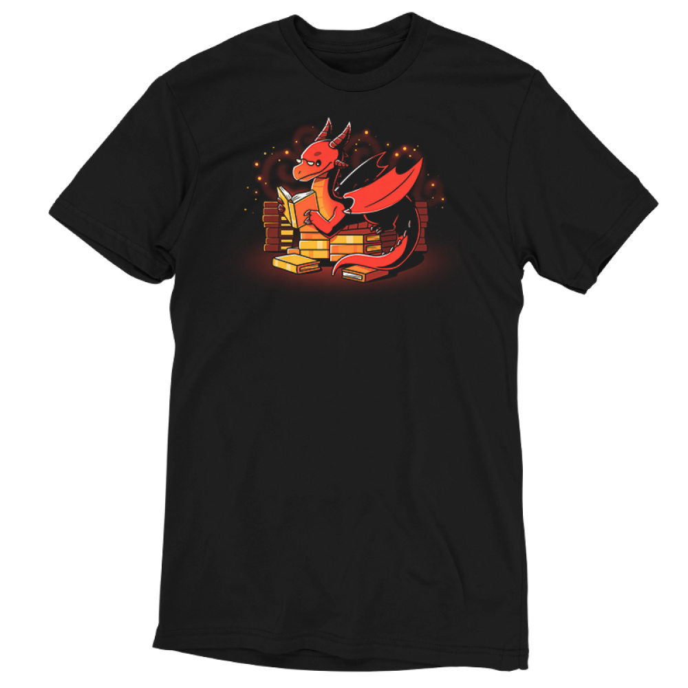Book Hoarder t-shirt TeeTurtle black t-shirt featuring a happy, sparkling, red dragon with half-moon glasses sitting on top of a pile of golden books while reading a book.