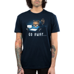 Go Away... Men's t-shirt model TeeTurtle navy t-shirt featuring an anxious-looking brown raccoon with a puffed up tail lying down while covering itself with a blanket and looking at a lit-up tablet with a ... speech bubble coming out of it.