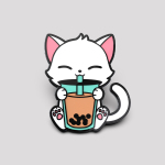 Boba Cat pin featuring a white cat sipping on a brown boba drink in a turquoise cup