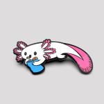 Snaxolotl Pin featuring an axolotl eating a bag of chips