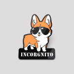 Incorgnito pin featuring a corgi wearing sunglasses