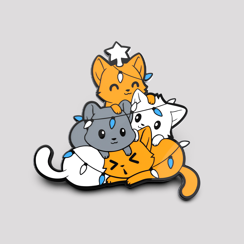 Meowy Christmas Pin featuring a pile of cats in the shape of a tree all wrapped up in christmas lights with a star on top of the cat at the top
