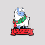 Christmas Llama pin featuring a white and blue llama with a green wreath around its neck