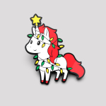 A Unicorny Christmas pin featuring a white unicorn with red fur wrapped in christmas lights with a star on its horn