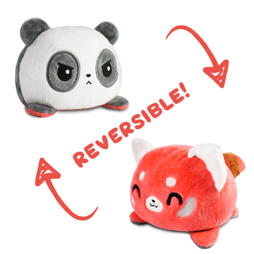 Reversible Panda and Red Panda plushie featuring a white and black angry panda and flips into a cheerful red panda