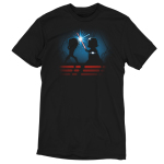 Luke & Darth Vader Lightsaber Battle t-shirt officially licensed black Star Wars t-shirt featuring the silhouettes of Luke and Darth Vader battling with their blue and red lightsabers with a starry sky behind them