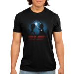 Luke & Darth Vader Lightsaber Battle Men's t-shirt model officially licensed black Star Wars t-shirt featuring the silhouettes of Luke and Darth Vader battling with their blue and red lightsabers with a starry sky behind them
