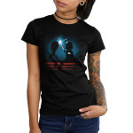 Luke & Darth Vader Lightsaber Battle Junior's t-shirt model officially licensed black Star Wars t-shirt featuring the silhouettes of Luke and Darth Vader battling with their blue and red lightsabers with a starry sky behind them