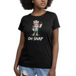 Oh Snap Women's t-shirt model officially licensed black Marvel t-shirt featuring Thanos with his hand on his hip and his other hand in the air snapping