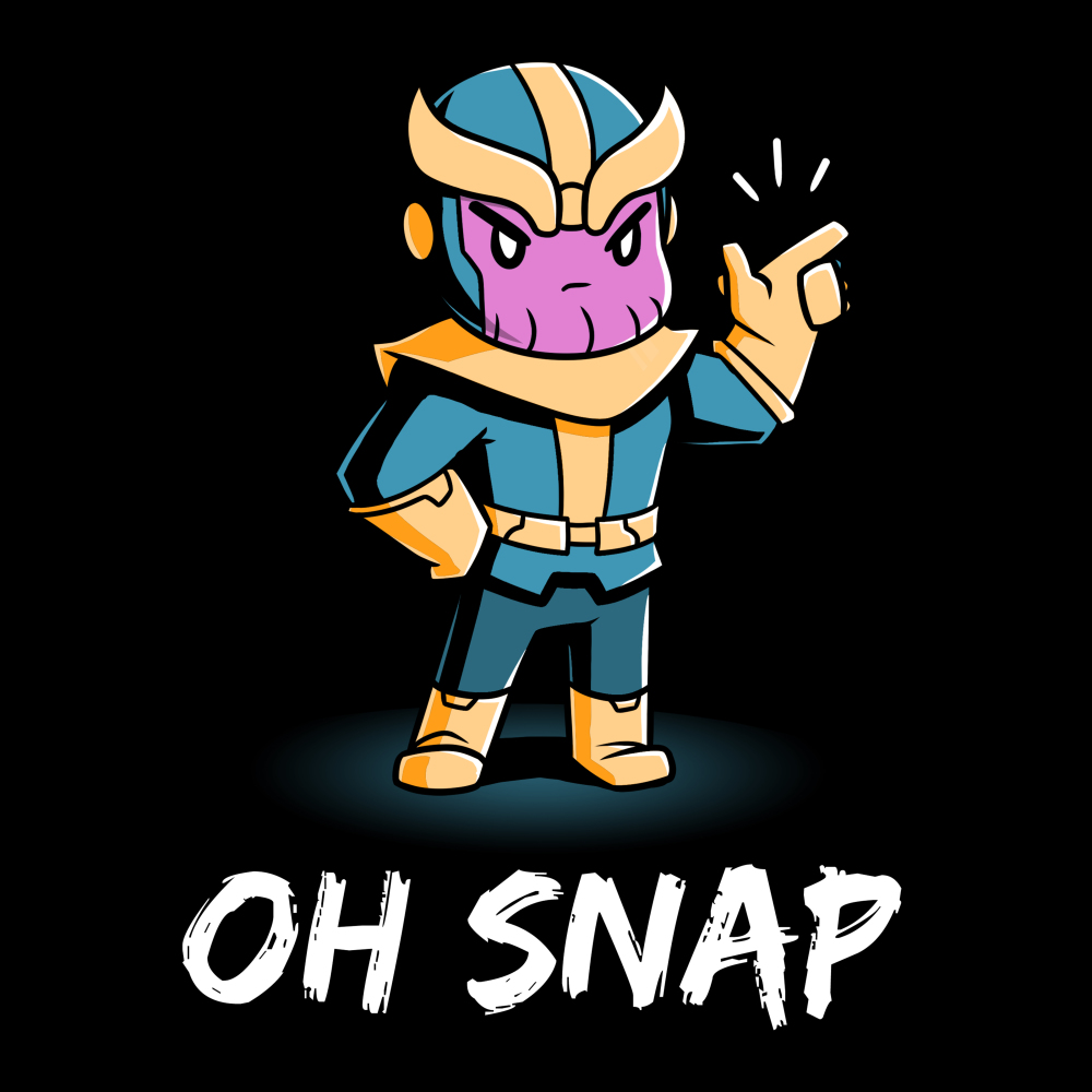 Oh Snap t-shirt officially licensed black Marvel t-shirt featuring Thanos with his hand on his hip and his other hand in the air snapping