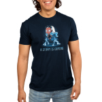 A Storm is Coming Men's t-shirt model officially licensed navy t-shirt featuring Storm hovering over the ground with lightening coming from her hands