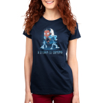 A Storm is Coming Women's t-shirt model officially licensed navy t-shirt featuring Storm hovering over the ground with lightening coming from her hands