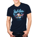 Jubilee Men's t-shirt model officially licensed navy Marvel t-shirt featuring Jubilee hovering over the ground with colorful lights all around
