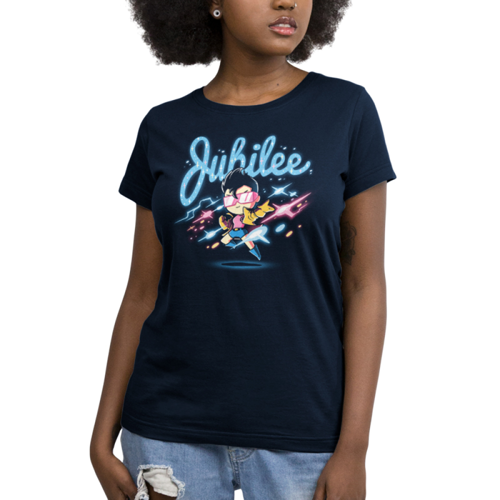 Jubilee Women's t-shirt model officially licensed navy Marvel t-shirt featuring Jubilee hovering over the ground with colorful lights all around