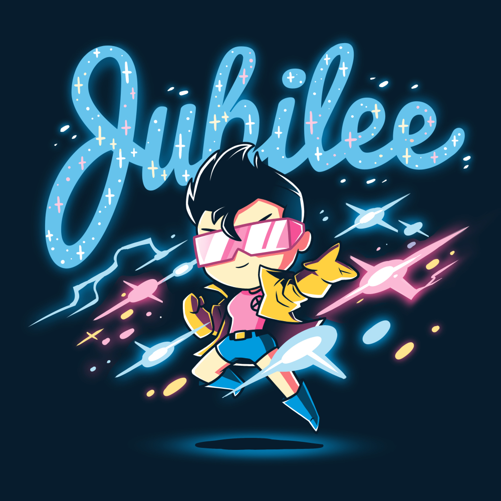 Jubilee t-shirt officially licensed navy Marvel t-shirt featuring Jubilee hovering over the ground with colorful lights all around
