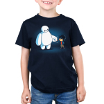 BFFs (Baymax and Hiro) Kid's t-shirt model officially licensed navy Disney t-shirt featuring Baymax and Hiro from Big Hero 7 fist bumping