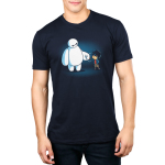 BFFs (Baymax and Hiro) Men's t-shirt model officially licensed navy Disney t-shirt featuring Baymax and Hiro from Big Hero 7 fist bumping