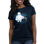 BFFs (Baymax and Hiro) Women's t-shirt model officially licensed navy Disney t-shirt featuring Baymax and Hiro from Big Hero 7 fist bumping