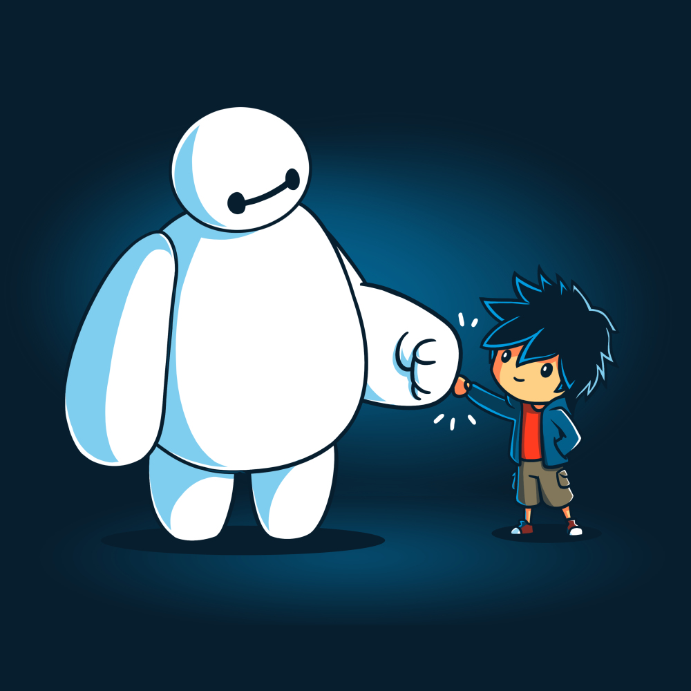 BFFs (Baymax and Hiro) t-shirt officially licensed navy Disney t-shirt featuring Baymax and Hiro from Big Hero 7 fist bumping