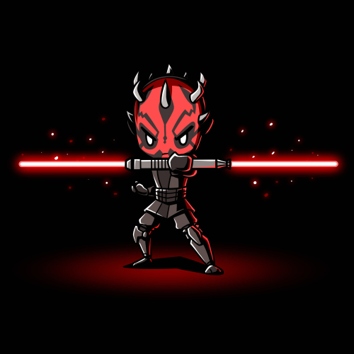 Darth Maul t-shirt officially licensed black Star Wars t-shirt featuring Darth Maul holding a double edged red lightsaber