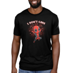 I Don't Care Men's t-shirt model officially licensed black Marvel t-shirt featuring Deadpool jumping in the air smiling with his arms up