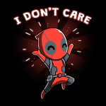 I Don't Care t-shirt officially licensed black Marvel t-shirt featuring Deadpool jumping in the air smiling with his arms up
